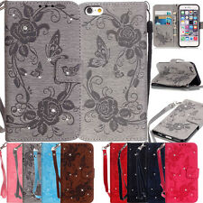 Leather Case Embossed Lanyard Diamond Card Wallet Skin Cover for iphone &Samsung