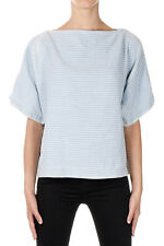 MARC BY MARC JACOBS Women Blue Striped Cotton and Linen T-Shirt New with Tag