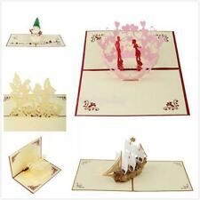 3D Pop Up Vintage Theme Christmas/Valentine/Birthday/Wedding Greeting Card Favor