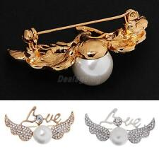 Fashion Love Angell Wing Pearls Design Brooch Pins Costume
