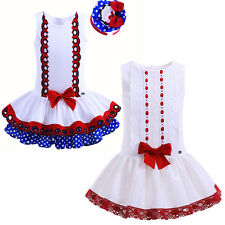 Baby Girls Princess Dress Kids Party Pageant Flower Bow Birthday Wedding Recital