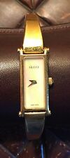 GUCCI 1500L Mother of Pearl White Dial Gold Plated Bracelet Ladies Watch