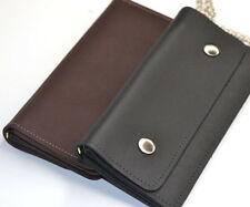 Real Leather USA Handmade Zipper Long Wallet w/ Snap Loop Chain for Mens Biker