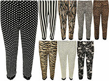 New Womens Plus Size Lace Animal Striped Print 3/4 Ladies Short Leggings