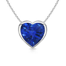 """Natural Blue Sapphire Solitaire Love Hearts Pendant Necklace with 18"""" chain"""