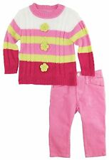 Titicos Babies Baby Girls Pastel Floral Stripes Cardigan Sweater 2Pc Pant Set