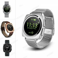 Bluetooth Smart Watch Metal Leather Strap Phone Mate For Android iPhone Sony LG
