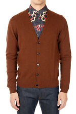 MARTIN MARGIELA MM14 Man Brown Wool Cardigan with Details in Leather