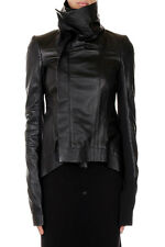 RICK OWENS New women Black Lamb Leather NASKA BIKER jacket  NWT