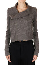 RICK OWENS Woman Mixed Cotton and Mohair Biker Jacket Made in Italy