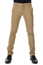 DONDUP Men Beige Pants Trouser Chino in Cotton Zipped SPIRITISSIMO Made in Italy