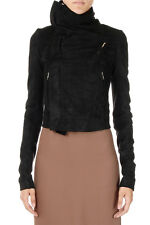 RICK OWENS Woman Leather Classic Biker Jacket Made in Italy