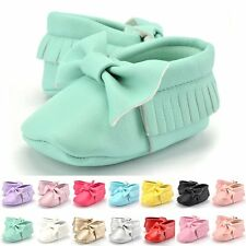 Baby Girl Toddler Infant Cute Soft Leather Sole Crib Shoes Moccasin 0-12 Months