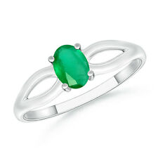 Natural Oval May Birthstone Emerald Solitaire Ring 925 Sterling Silver Size 3-13