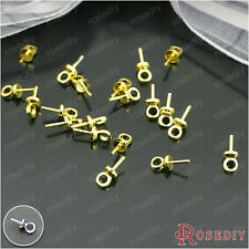 50PCS 6MM Brass Half hole Beads Caps Connect Pins Findings Accessories 13631
