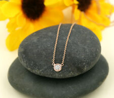 14k White Gold, Rose Gold, Yellow Gold Necklace 0.10Ct Diamond Solitaire Pendant