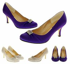 Ladies Low Heel Satin Wedding Shoes Diamante Bridal Formal Court Shoes Size 3 4