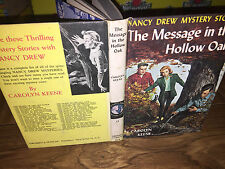 Nancy Drew Message in the Hollow Oak 1961 #12 Hardcover Book Yellow 1st First PC