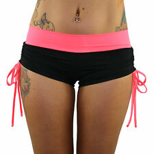 Black Lycra/Coral Band and Tie Side Shorts for Pole Dancing/Dance/Yoga/Gym