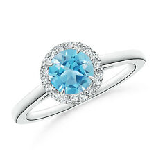 Natural Solitaire Blue Topaz Diamond Halo Engagement Ring 14k White Gold