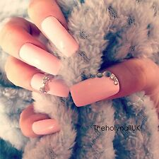 FALSE NAILS - Baby Pink, Diamond Bow - Stick On - The Holy Nail UK
