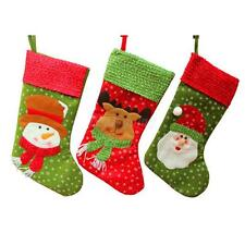 Christmas Stocking Sock Santa Snowman Deer Snowflake Hanging Gift Bag Xmas Decor