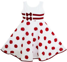 Girls Dress Wine Red Polka Dot Circle Print Double Bow Tie Size 4-12 US Seller