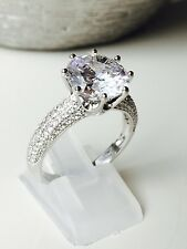 Engagement Round Solitaire Simulated Diamond Ring 925 REAL Sterling Silver New