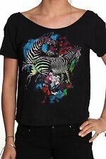 Iron Fist Black Ladies Two Space Zebras Watercolour Fashion T-Shirt $52.00 CAD