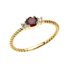 14k Yellow Gold Dainty Solitaire Garnet & White Topaz Rope Stackable Ring