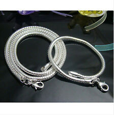 Fashion 925 Sterling Silver 4MM Heavy Snake Chain Necklace Bracelet Jewelry Sets