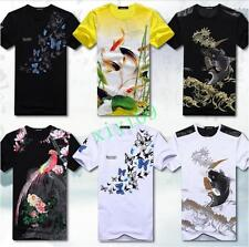 New Mens Chinese Stylish Short Sleeve Korean Slim Fit Casual Summer T-shirts 6XL