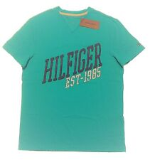 $30 TOMMY HILFIGER MEN'S TEE T-SHIRT V-NECK TEAL NAVY WHITE CRACKLE NWT