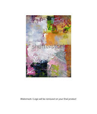 Framed Canvas Art Print Abstract Painting Oil Acrylic Texture Shapes Large
