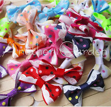 12 style Pet dog hair bows clips/rubber bands pet grooming hair bows accessorie