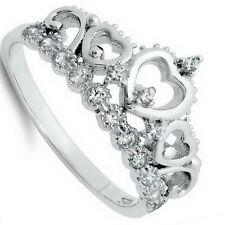 Sterling Silver 925 CZ Princess Heart Crown Tiara Band Fashion Ring Size 4 to 12
