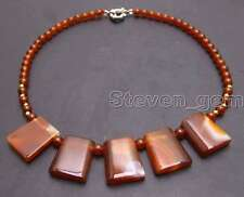 "SALE 20*25mm Red Trapezoid Natural agate & 6mm round agate 17"" necklace-5976"