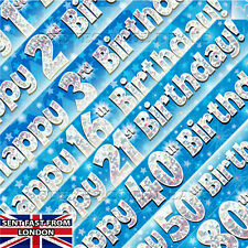 9ft - 2.7m Eleganza Holographic Foil, HAPPY BIRTHDAY Party Banner, Bright Blue