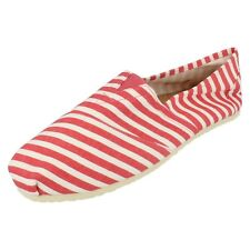 SALE WAS NOW Mens Spot on red/white stripe canvas slip on shoe A1079