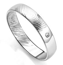 Fingerprint Sterling Silver /18K GP W/ CZ Promise Ring/Can be Couples Ring Set