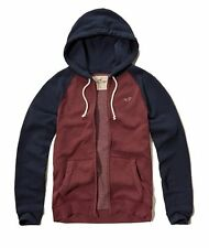 Nwt Hollister By Abercrombie Mens Full Zip and Pullover Hoodie Burgundy Navy