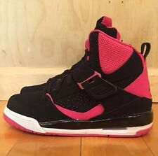 JORDAN FLIGHT 45 HIGH BLACK PINK BASKETBALL GIRLS KIDS GS SZ 4-7 Y  837024-008 A