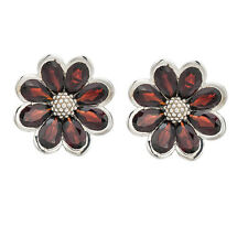 Genuine Red Garnet Solid 925 Sterling Silver Daisy Earrings Gemstone Jewelry