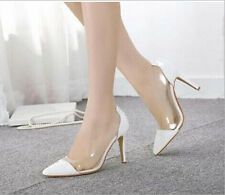 Brand New Fashion Sexy Simple Clear Pointy High Heels Women Shoes PU Stilettos