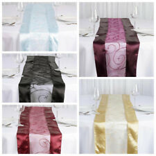 "6 pcs 14"" x 108"" Embroidered Organza TABLE RUNNERS Satin Edge Borders Wedding"