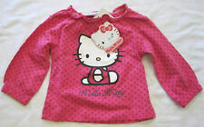 Girls Hello Kitty pink spotted long sleeve top with Hello Kitty print