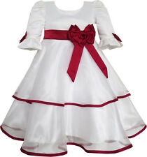 Girls Dress Red Rose Bow Tie Lace Formal Party Long Sleeve Size 4-10 US Seller