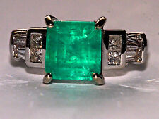 Exceptional  2.50ct Natural Colombian Emerald and Full Cut Natural Diamonds Ring