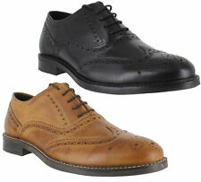 Mens Boys Black Brown Leather Brogues Lace Up Smart Formal Shoes Sizes 7-11