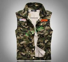 Fashion Mens Korea Denim Sleeveless Casual Slim Vest Camo Jacket Jane Size M-4XL